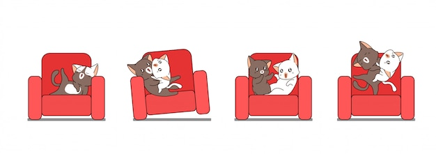Adorable cute cats on the sofa