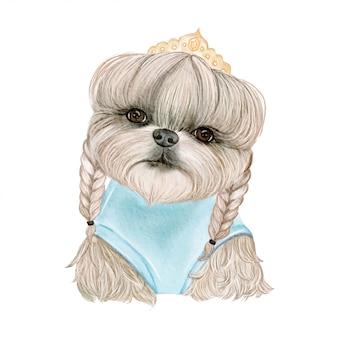 三つ編みと王冠の水彩イラストの髪の愛らしいかわいい犬