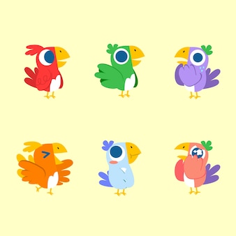 Adorable cute expressive colorful bird   illustration asset collection