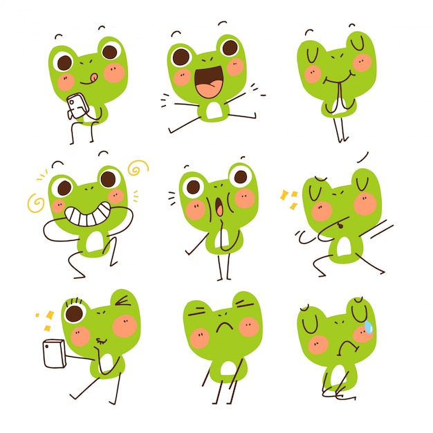 Adorable cute funny frog gesture mascot character doodle sketch illustration sticker
