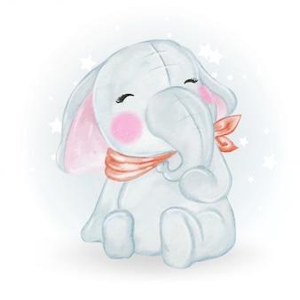 Adorable cute kawaii baby elephant watercolor illustration