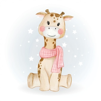 Adorable cute kawaii baby giraffe watercolor illustration
