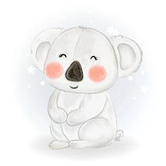 사랑스러운 귀여운 귀여운 아기 코알라 수채화 그림