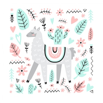 Adorable cute llama with cactus, flowers, plants, hearts. vector illustration in scandinavian style.