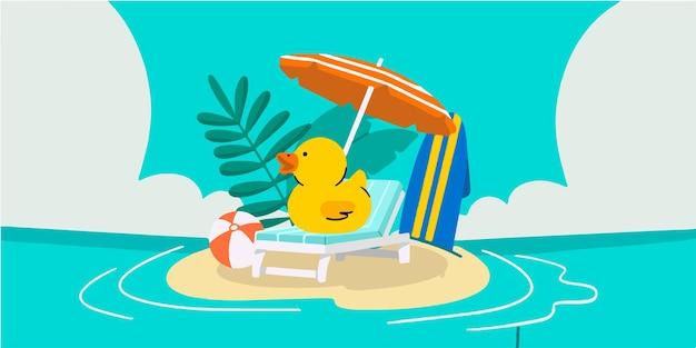 Очаровательны милые летние тематические каракули иллюстрации эксклюзивные