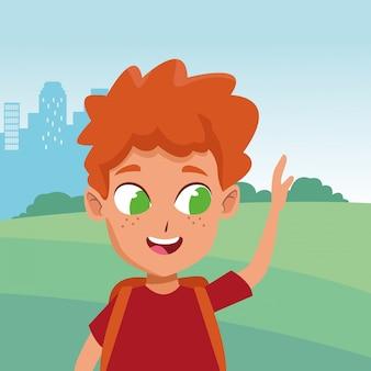 Adorable cute young boy cartoon