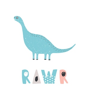 Adorable dinosaur and rawr inscription isolated on white background. blue cute diplodocus. funny extinct animal. colorful childish vector illustration in flat cartoon style for baby t-shirt print