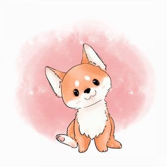 Иллюстрация очаровательны собаки. шиба ину собака акварель вектор. Premium векторы
