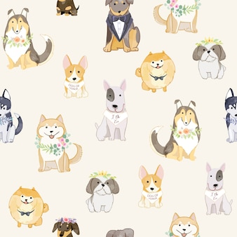 Adorable dogs wearing wreathes seamless pattern.