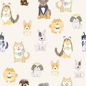 花輪のシームレスなパターンを身に着けている愛らしい犬。
