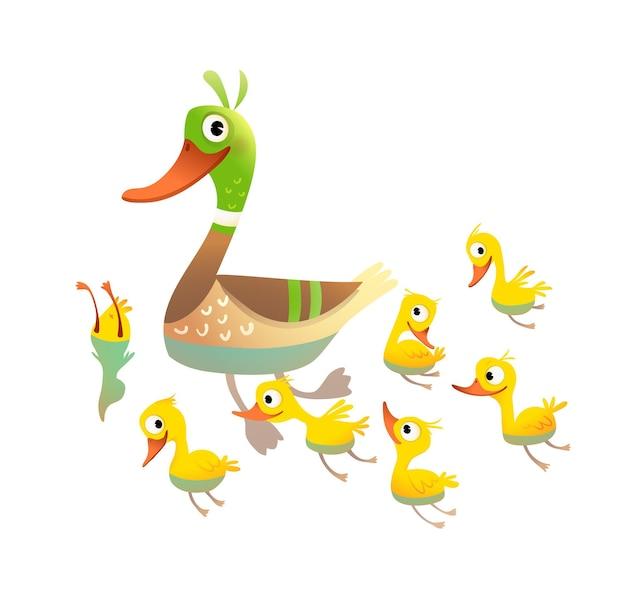 작은 노란 병아리와 함께 사랑스러운 오리 가족 어머니 수영과 다이빙 엄마 오리와 그녀의 병아리