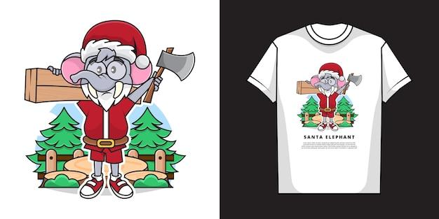 サンタクロースの衣装を着て、tシャツのモックアップデザインで斧を持っている愛らしい象の大工