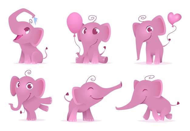 Adorable elephants, cute and funny happy african baby animals love emotions cartoon characters isolated