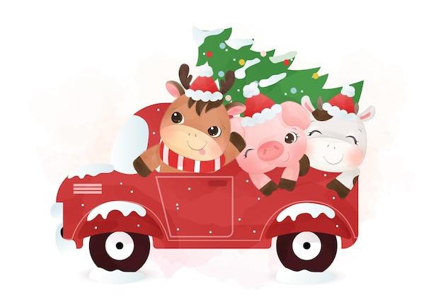冬のシーズンに一緒にトラックに乗って愛らしい家畜