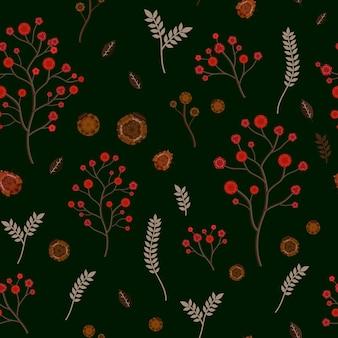 검정 배경 위에 사랑스러운 꽃 원활한 패턴