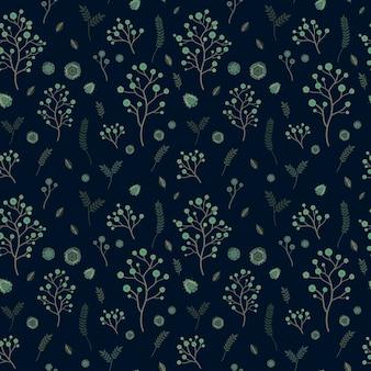 어두운 배경 위에 사랑스러운 꽃 원활한 패턴