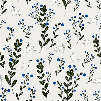 베이지색 배경 위에 새 요소와 사랑스러운 꽃 원활한 패턴