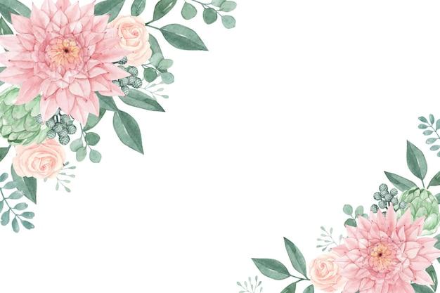 수채화 달리아와 장미와 사랑스러운 꽃
