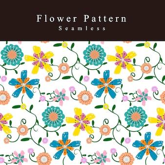 落書きスタイルの愛らしい花のシームレスなパターンの背景