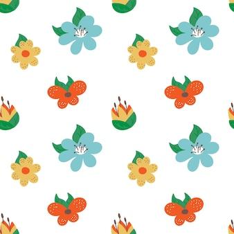 愛らしい花のシームレスなパターンのベクトル図無限の植物の背景