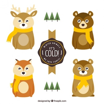 Adorable forest animals with yellow scarves