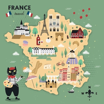 Adorable france travel map design with cats and famous attractions