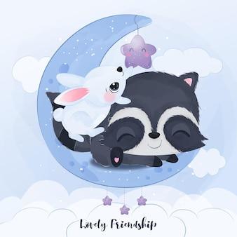 수채화 그림에서 너구리와 토끼의 사랑스러운 우정