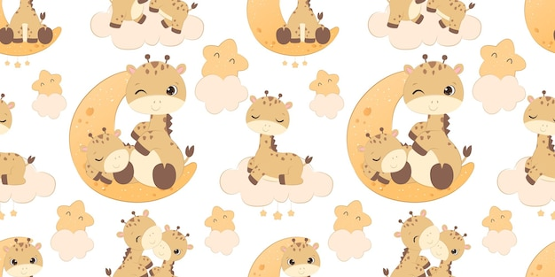 Adorable giraffe pattern for children fabric wallpaper and many more