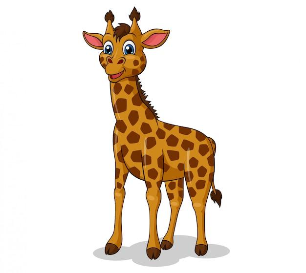 Adorable giraffe standing-up cartoon