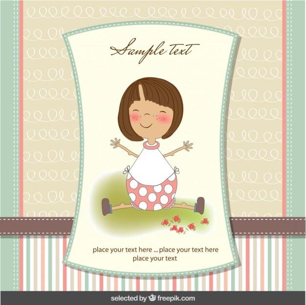 파스텔 색상의 사랑스러운 소녀 베이비 샤워 카드
