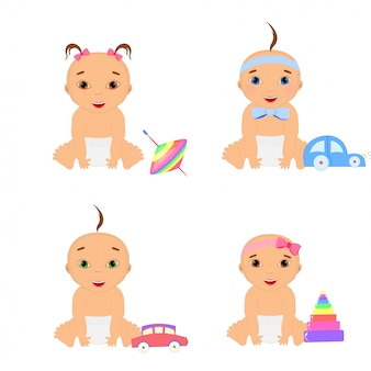Adorable girl and boy cartoon babies playing with their stuffed toys and development tools series of cute happy infants.