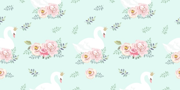 Adorable goose with floral seamless pattern