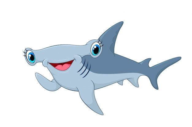 Adorable hammerhead shark waving hand