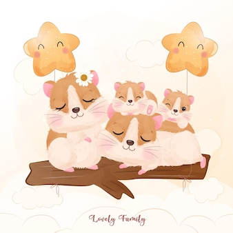 Adorable hamster family in watercolor illustration