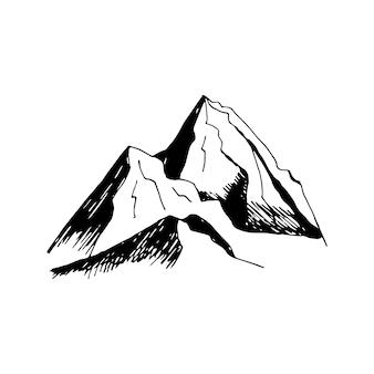 사랑 스러운 손으로 그린 벡터 산과 나무 클립 아트 여행 디자인