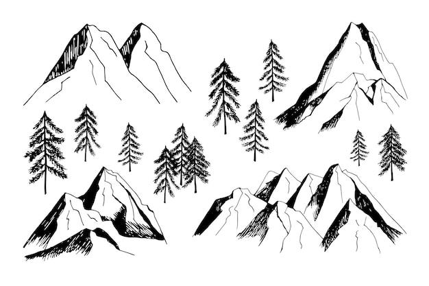 사랑스러운 손으로 그린 벡터 산과 나무 클립 아트 여행 디자인