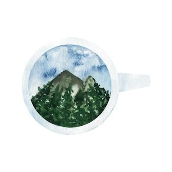 愛らしい手描きの水彩画の山と木々のクリップアートをカップに。