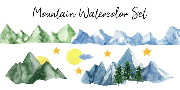 愛らしい手描きの水彩画の山と木のクリップアート。