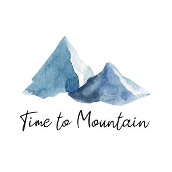 愛らしい手描きの水彩山