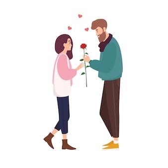 Очаровательная счастливая пара в любви на романтическом свидании