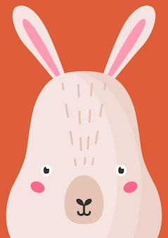 사랑스러운 토끼 주둥이 평면 벡터 일러스트 레이 션. 귀여운 야생 동물 숲 토끼 총구 만화 화려한 배경입니다. 야생 토끼 머리를 닫고 장식적인 배경을 마주하세요. 유치한 동물원 카드 디자인 아이디어.