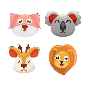 Adorable head animal cartoon set