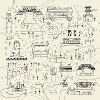 가는 선 디자인의 명소와 요리가 있는 사랑스러운 홍콩 여행 컨셉
