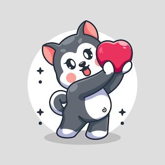 愛らしいハスキー犬は心の漫画を与えています