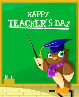 Adorable illustration of owl teacher teaching