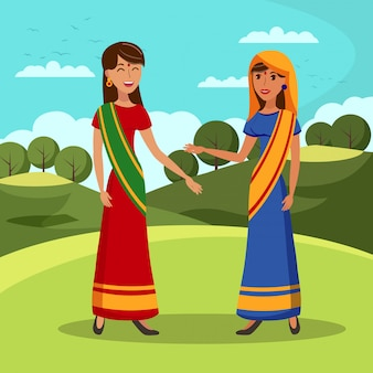 Adorable indian girlfriends color illustration