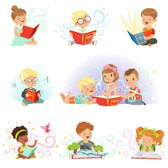 Adorable kids set. smiling little boys and girls  illustrations  on a light blue background