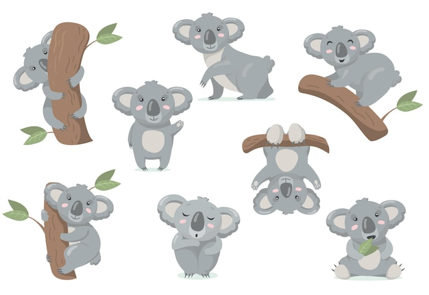 Adorable koala baby flat set. cartoon illustration