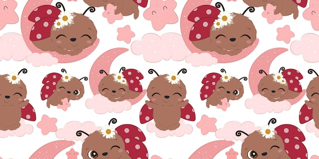Adorable ladybug pattern for children fabric wallpaper and many more