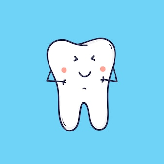 愛らしい笑う臼歯。かわいいうれしそうなマスコットや歯科医院や矯正センターのシンボル。